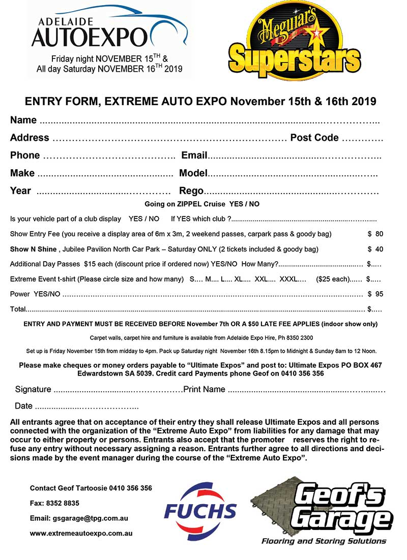 Show N Shine Entry form 2019