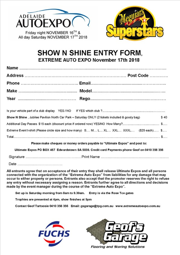 Entry form SHOW N SHINE Extreme 2018